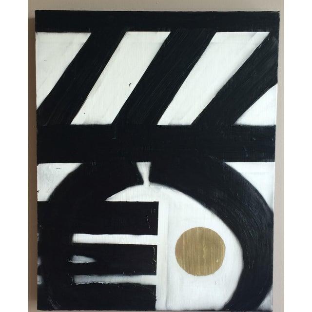 Black & White Geometric Acrylic Paintings - A Pair - Image 3 of 4