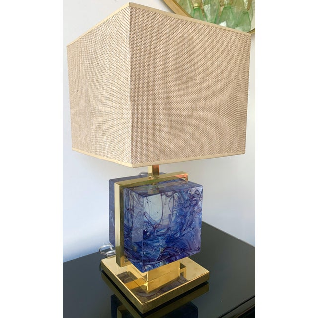 Contemporary Pair of Lamps Brass Cage Murano Glass Cube, Italy For Sale - Image 6 of 11