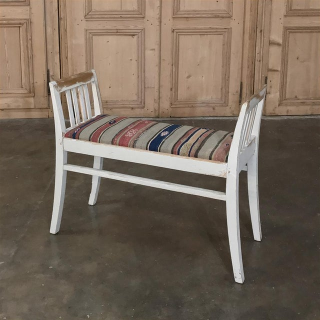Textile Pair 19th Century Antique Swedish White Painted Stools With Ikot Upholstery For Sale - Image 7 of 11