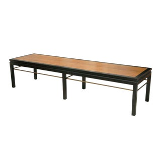 Dunbar Ebonized, Walnut and Brass Bench For Sale