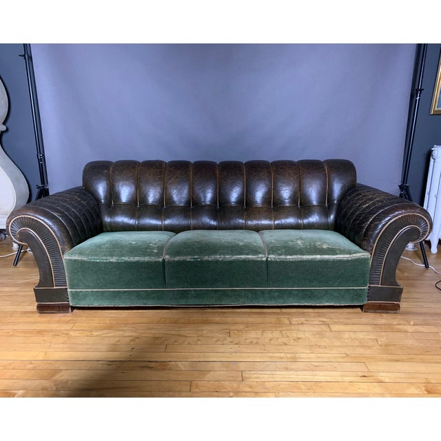 Danish 1930s Art Deco Green Leather Channeled Sofa For Sale - Image 11 of 11