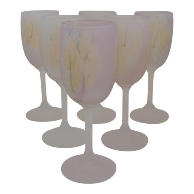 Rueven Watercolor Wine Glasses - Set of 6 For Sale