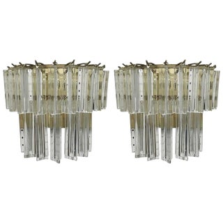 Italian Mid-Century Two-Tier Venini Murano Glass Sconces - A Pair For Sale