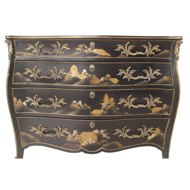 French Louis XV Style Black Lacquered Chinoiserie Decorated Commode For Sale - Image 4 of 4