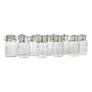 Large Kitchen Glass Canning Jars, Set of 12 For Sale