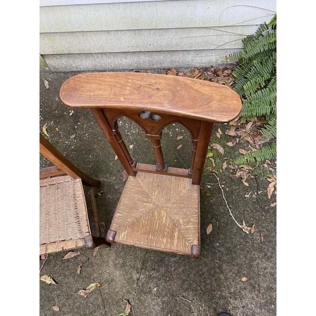 Wood Antique Prayer Chairs - a Pair For Sale - Image 7 of 13