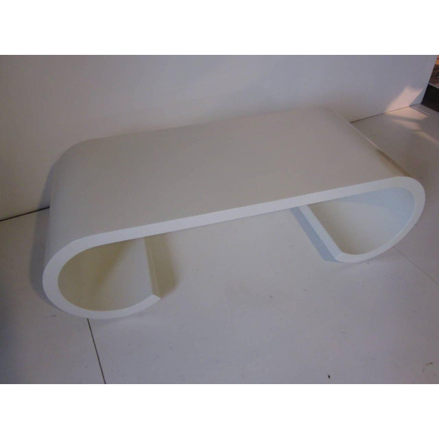 Wood Karl Springer Styled Scroll Coffee Table For Sale - Image 7 of 7