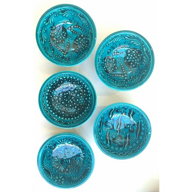 Turquoise Bowls - Set of 5 - Image 4 of 5