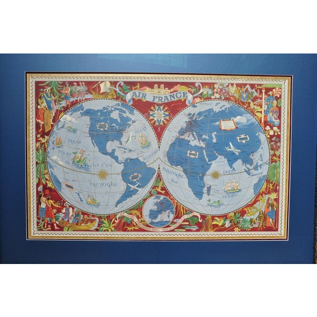 "French Large Framed 1952 Lucien Boucher ""Air France"" World Map Framed Poster Planisphere For Sale - Image 3 of 12"