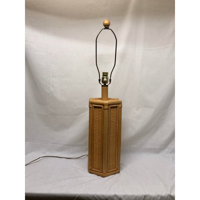 1960s Vintage Coastal Style Rattan & Wicker Lamps- Set of 2 For Sale - Image 4 of 10