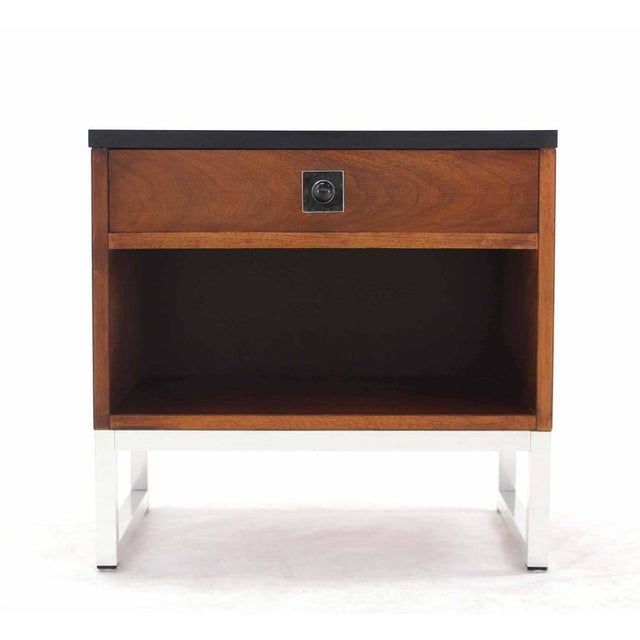 Pair of Walnut & Chrome Nightstands For Sale - Image 9 of 9