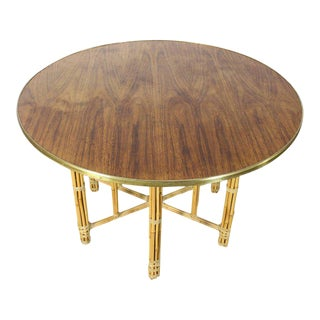 Round Rosewood & Brass Dining Table With Bamboo Base
