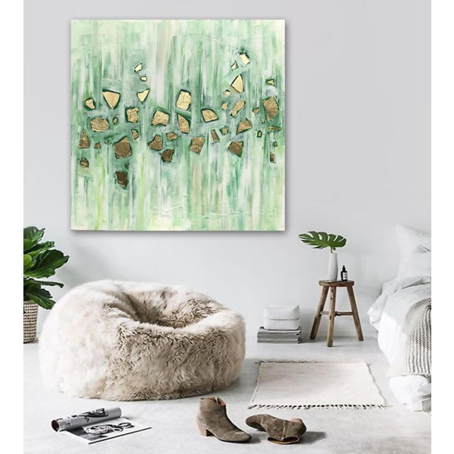Various shades of green with gold leaf accents. This gorgeous painting offers intriguing depth and dimension and is...