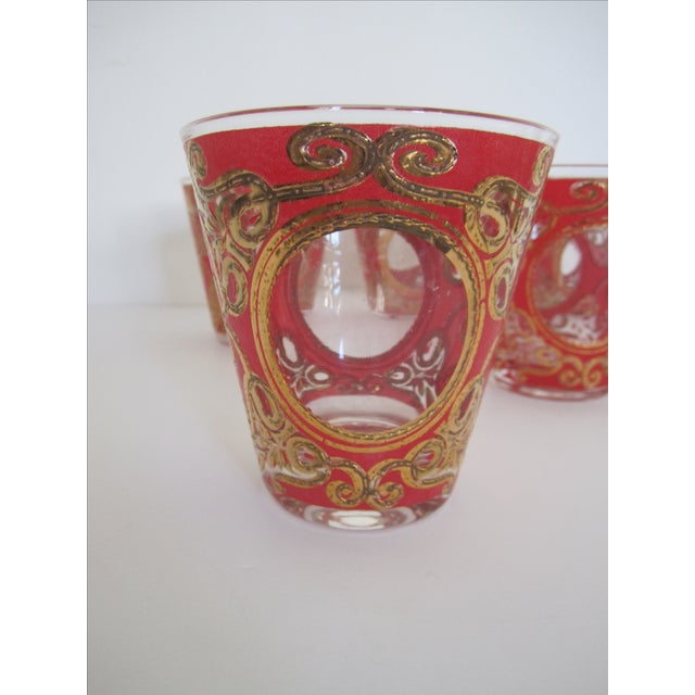 Culver 1970s Red & Gold Rocks Glasses - Set of 10 - Image 5 of 11