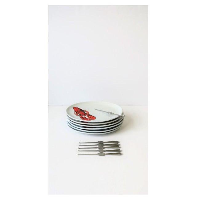 Vintage Designer Italian Lobster Plates With Forks From Sweden - Set of 6 For Sale - Image 13 of 13
