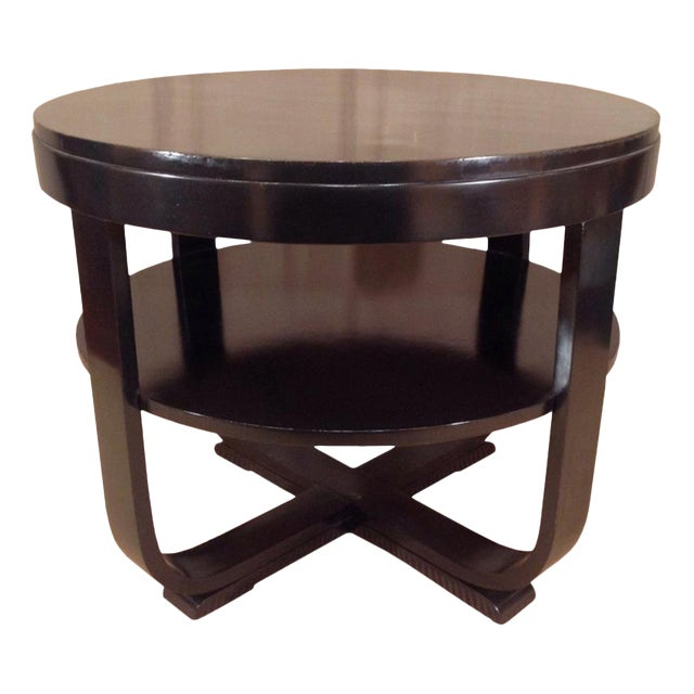 Black Lacquered Round Art Deco Table For Sale