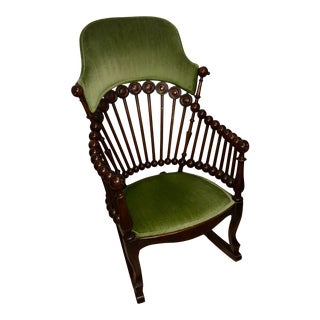 Late 19th Century Antique Hunzinger Lollipop Rocking Chair For Sale
