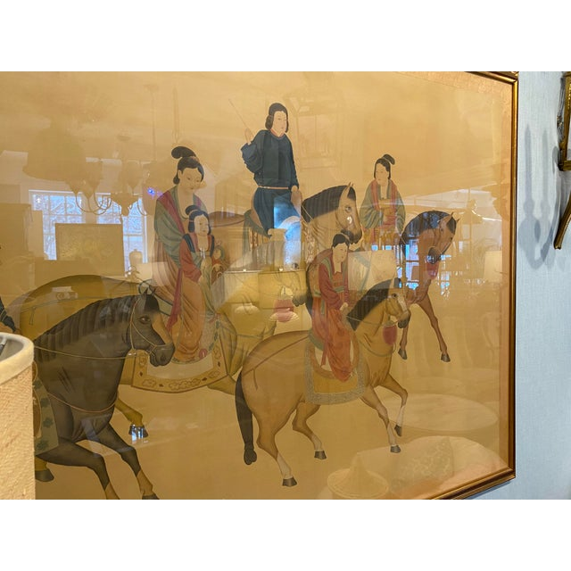 Large Chinese Painting on Silk, Women on Horseback For Sale - Image 11 of 12