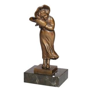 Antique 1910 Figural Bronze Portrait Sculpture of Young Girl For Sale