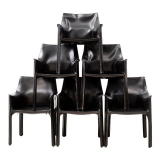 Set of 10 Cab Chairs by Mario Bellini--6 Arm, 4 Side--In Black Leather, 1970s