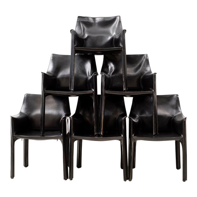 Set of 10 Cab Chairs by Mario Bellini--6 Arm, 4 Side--In Black Leather, 1970s For Sale
