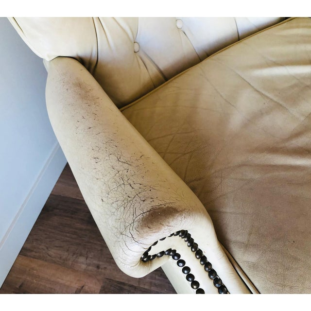 1960s Vintage Distressed Leather Tufted Chair With Ottoman For Sale - Image 5 of 13