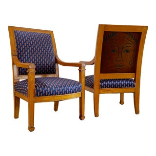 Vintage Mid Century Louis Phillippe Armchairs- a Pair For Sale