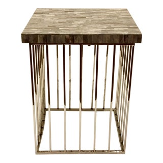 Modern Regina Andrews Gray Bone and Chrome Square Accent Table For Sale