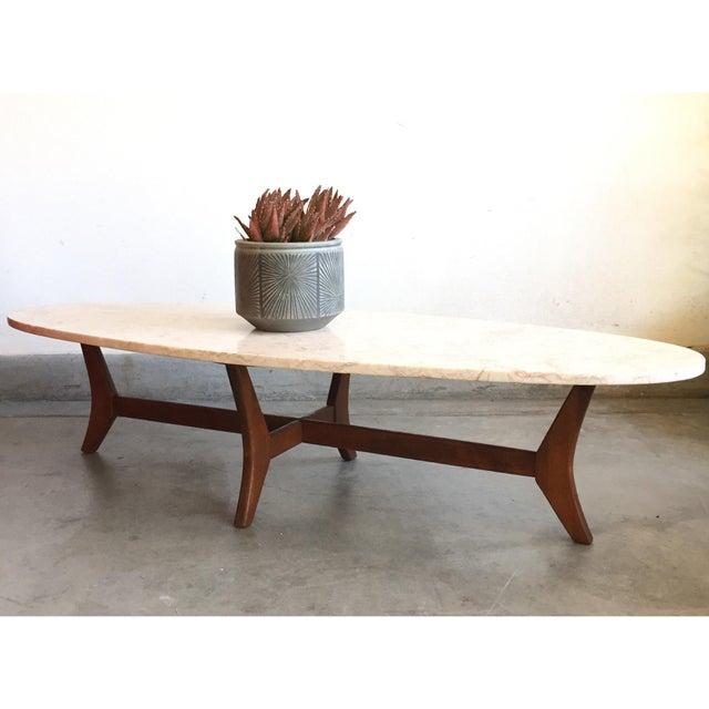 MidCentury Modern Marble Slab OvalShaped Coffee Table Chairish - Oval shaped marble coffee table