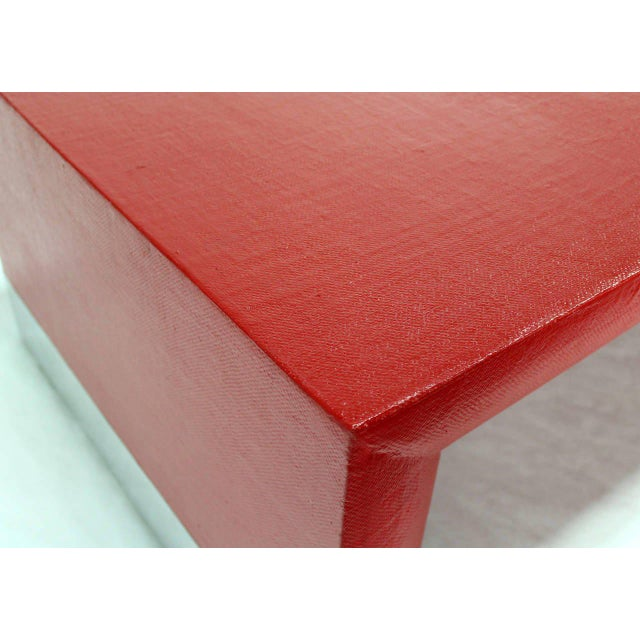Mid-Century Modern Large Rectangle Grass Cloth Mid-Century Modern Coffee Table in Fire Red For Sale - Image 3 of 8