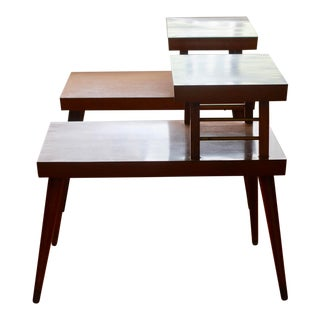 Mid Century Modern Wood and Brass Tier Side Tables - a Pair For Sale