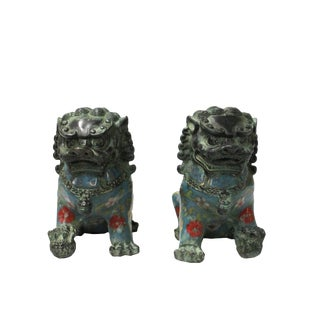 Chinese Pair Metal Blue Enamel Cloisonne Foo Dog Figures For Sale