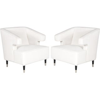 "Worlds Away ""Arthur"" White Linen Lounge Arm Chairs – a Pair"