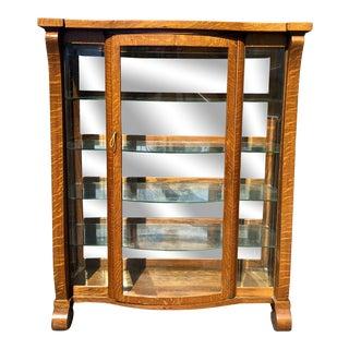 Antique American Empire Quartersawn Oak Mirrored Curio Cabinet/Bookcase For Sale