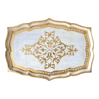 Large Florentine Gilt Wood Lacquer Tray For Sale