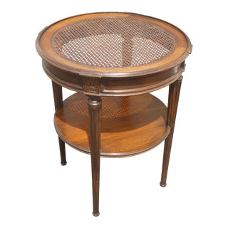 1950s French Country Round Cane Two Tier Side Table