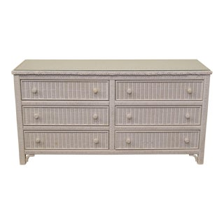 20th Century Country Lexington White Wicker Double Dresser For Sale
