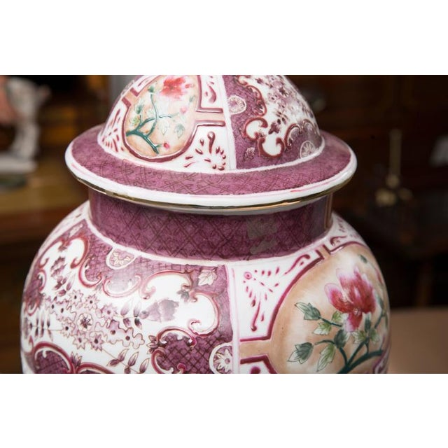 Purple Chinese Lidded Vase with European Inspiration - Image 6 of 7