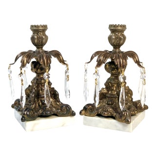 Vintage Italian Brass Candle Holders With Crystals / Marble Base / Baroque Style For Sale