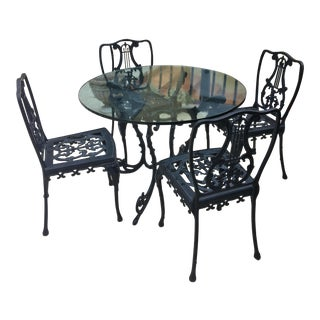 Antique Wrought Iron Patio Dining Set For Sale