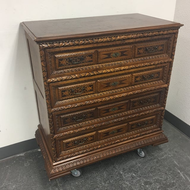 Vintage Carved & Inlaid 4 Drawer Dresser - Image 3 of 9