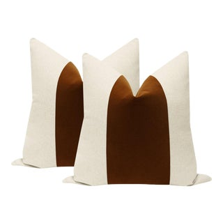 "22"" Cognac Velvet Panel & Linen Pillows - a Pair"