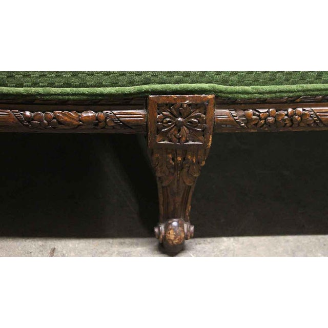 Carved Wood Frame & Green Upholstery Victorian Sofa For Sale - Image 9 of 13
