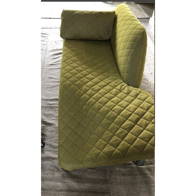 Contemporary Vintage Chaise in Adelene Simple Cloth Plush Crush Egg Yolk Fabric For Sale - Image 3 of 7