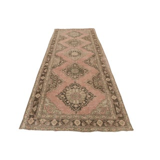 "Vintage Turkish Pink Distressed Wool Hand Knotted Wide Runner - 13' X 4'8"" For Sale"