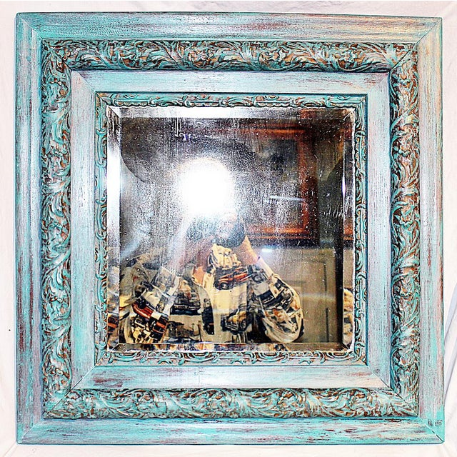 Here's a sweet antique American beveled glass wall mirror, c.1900 just washed in Annie Sloan paint, Florence over Provence...
