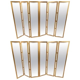 Mid-Century Modern Mirrored Three Panel Room Dividers - a Pair For Sale