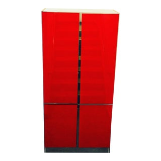 Ello Signed Mid Century Post Modern Red Glass & Chrome Tall Lighted Storage Cabinet