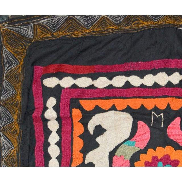 Boho Chic Vintage Turkish Uzbeki Suzani Textile - 2'7″ X 3'5″ For Sale - Image 3 of 4