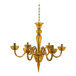 Amber Murano Glass Six Light Chandelier For Sale